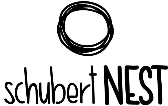 """Ein Nest in Kreisform und darunter der Titel """"schubertNEST"""""""