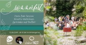 Einladung zum Sommerfest hoch 3 (veranstaltet von schubertNEST, Seed Kollektiv und dem Alternativreferat der ÖH Uni Graz